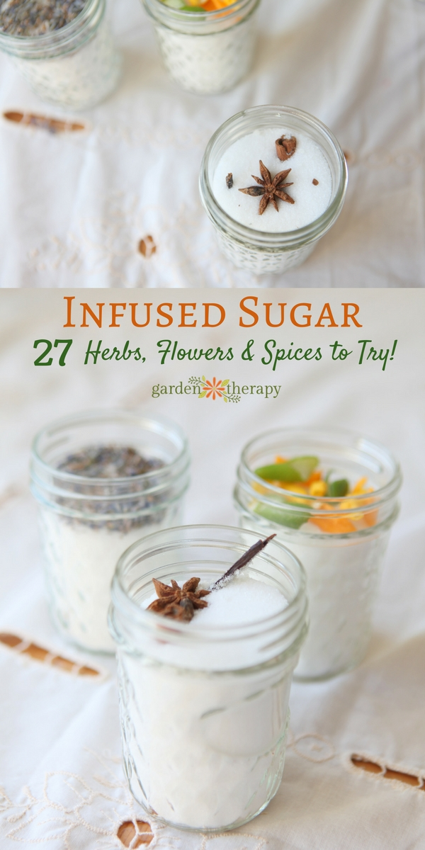 infused sugar with herbs spices and flowers