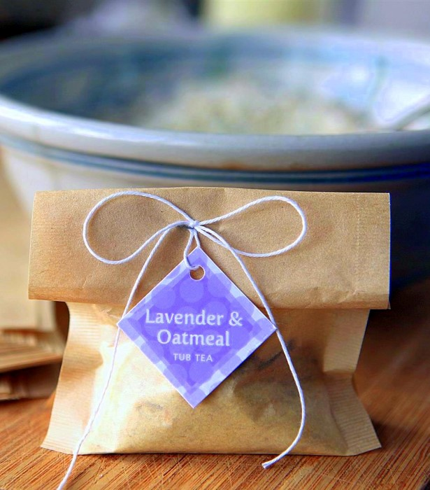 Lavender Oatmeal Tub Tea Recipe with healing essential oils