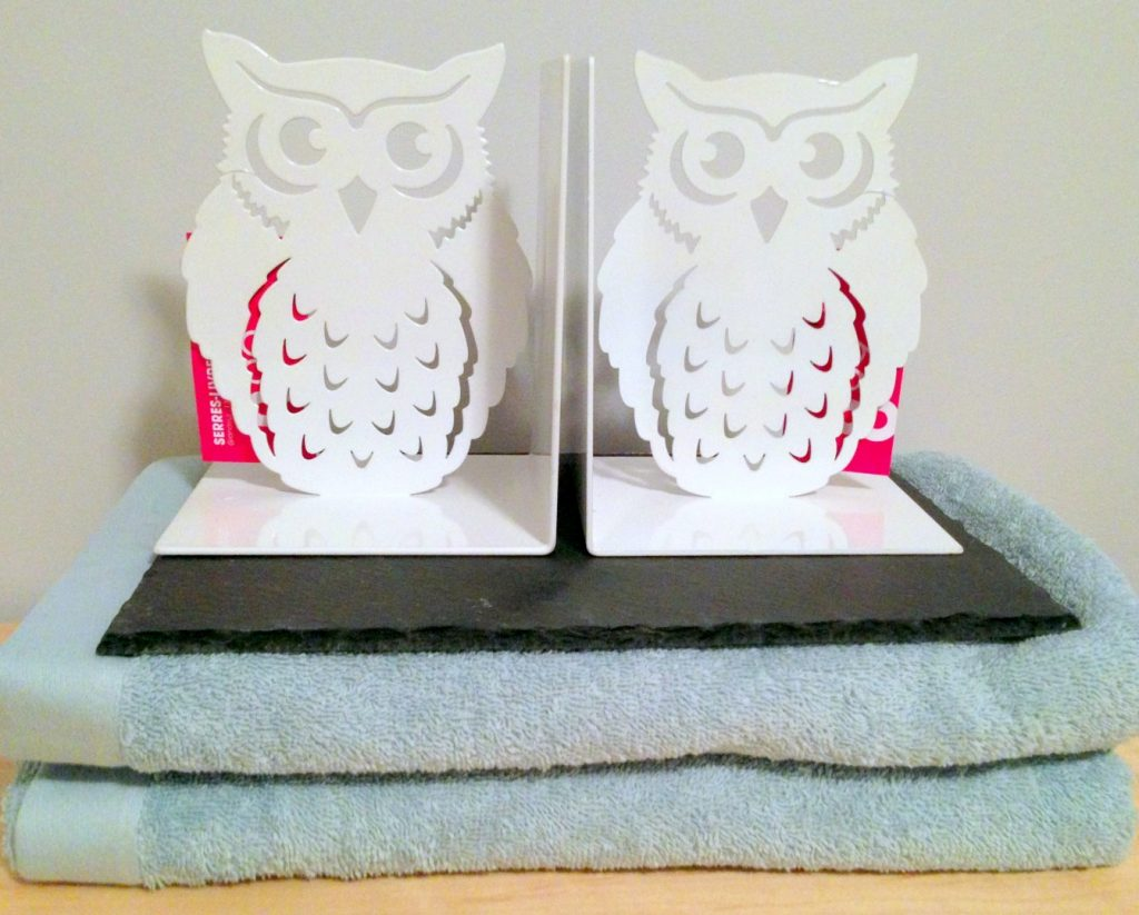 Owl Book ends towels and slate cheese plate