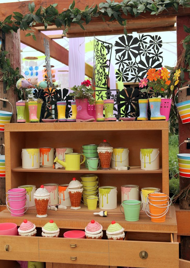 Paint Cans, Ice Cream Cone, and Rubber Boot Planters in Brights