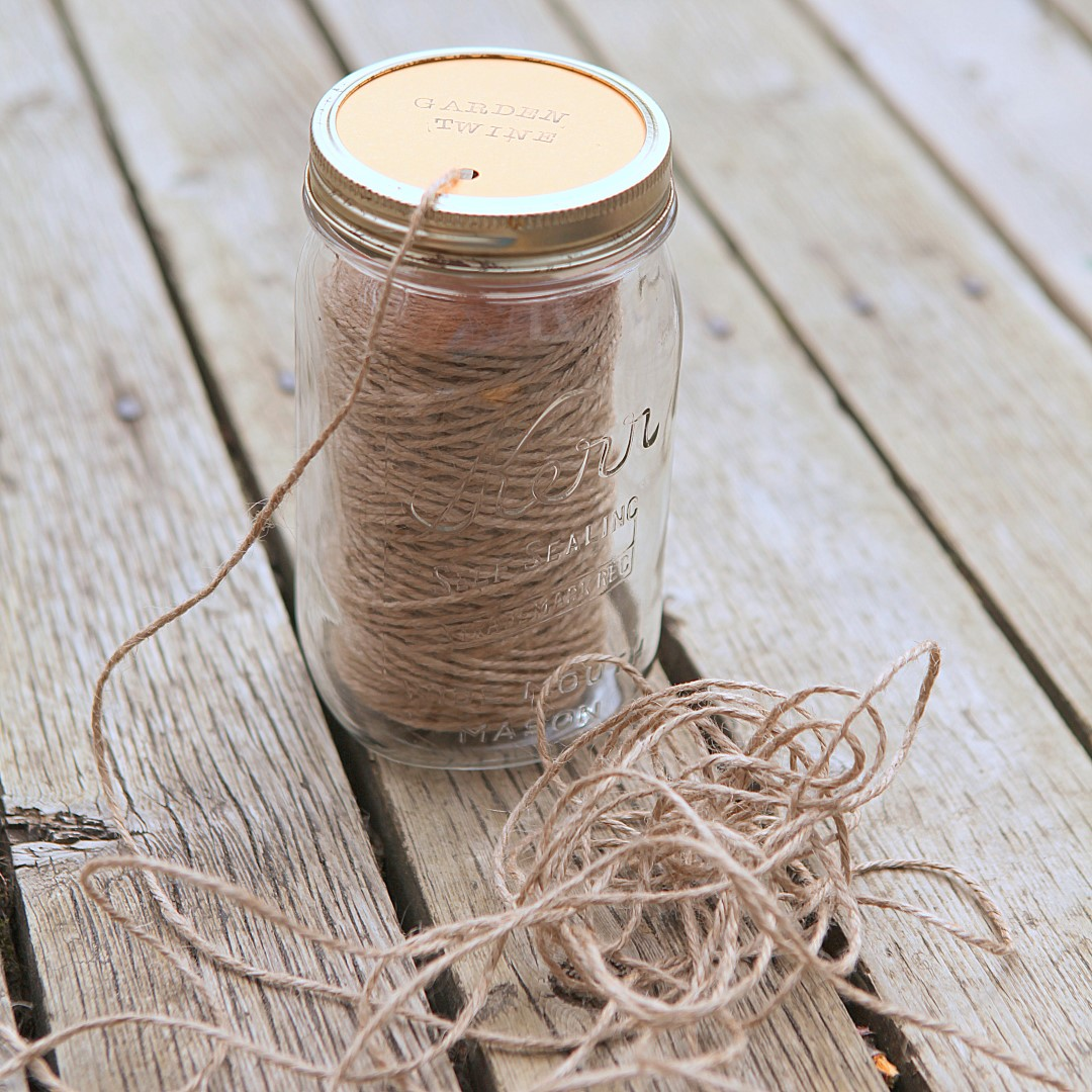 DIY Mason Jar Garden Twine Dispenser Square