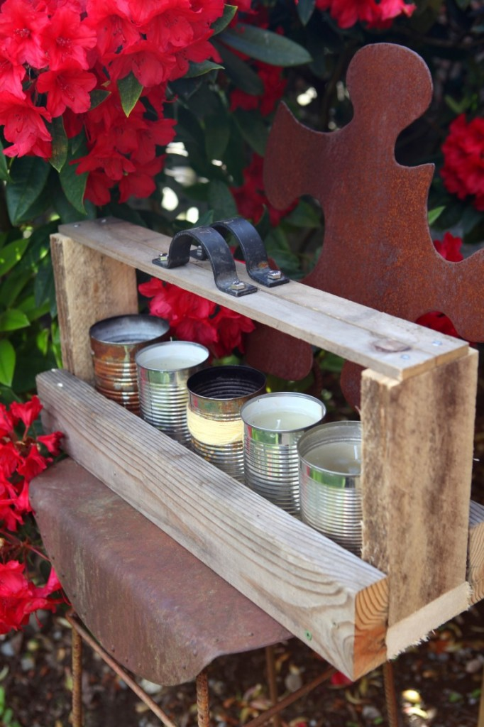 Tool Box from Recycled Pallet Wood with Citronella CANdles