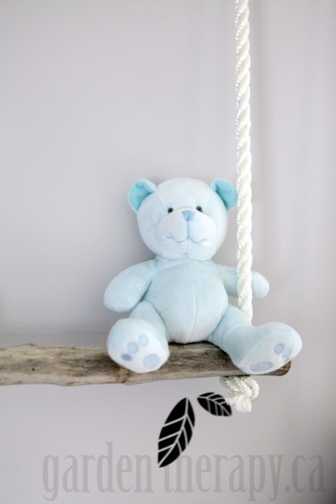 Blue Bear on Branch Swing for Nursery Decor