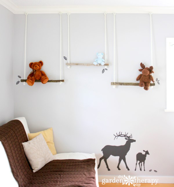 DIY Branch Swing Shelves