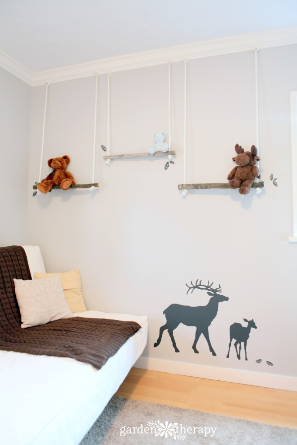 Natural Branch Swing Shelves