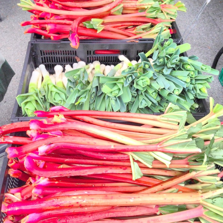 Spotted Rhubarb And Leeks At The Farmers Market Medium