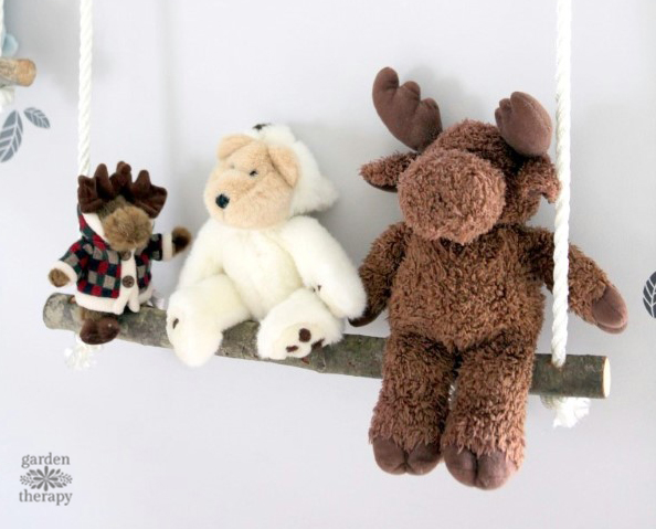 Stuffed Animal Shelves for Natural Nursery