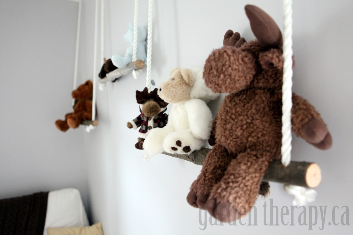 Stuffed Animal Shelves From Branches