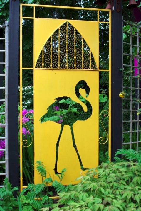 Yellow Flamingo Garden Art