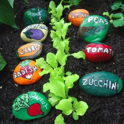 Painted Stone Garden Markers for the Vegetable Garden