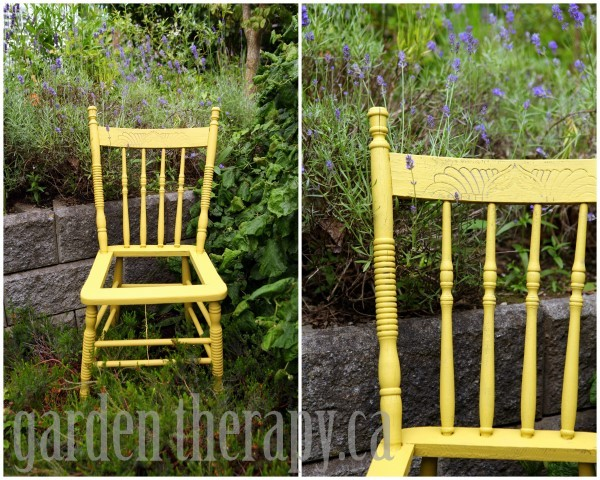 Painted Wood Chair Frame in Lemongrass via garden therapy