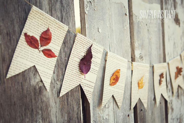 Fall Leaf and Book Pages Bunting Craft