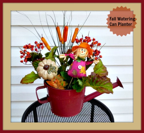 Fall Watering Can Scarecrow Arrangement