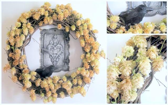 Halloween Wreath Golden Hops Grapevine and Crow