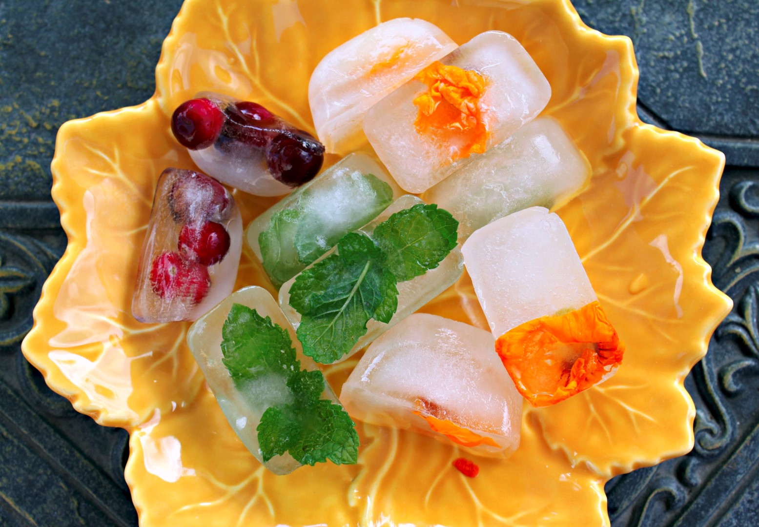 How To Make Floral Fruit And Herb Ice Cubes