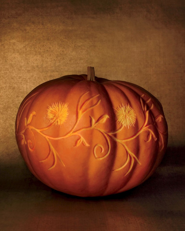 etched pumpkin carving design - vines and blooms