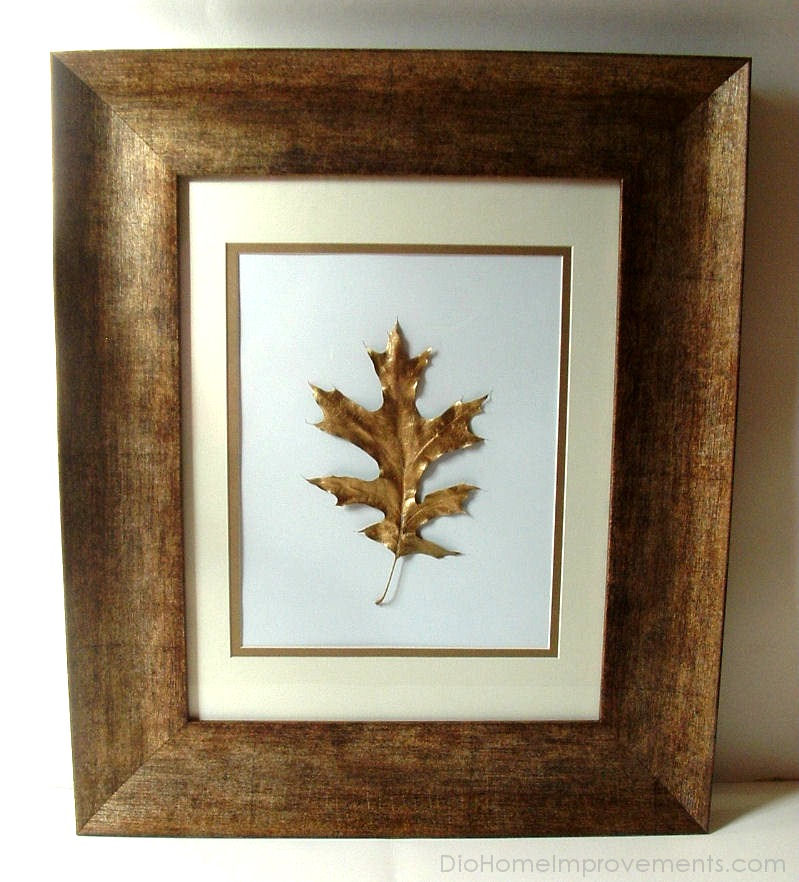 Red Oak Leaf Gold Painted Artwork