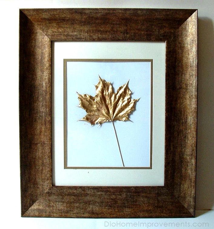 Gold Maple Leaf Art Work Frame Decor