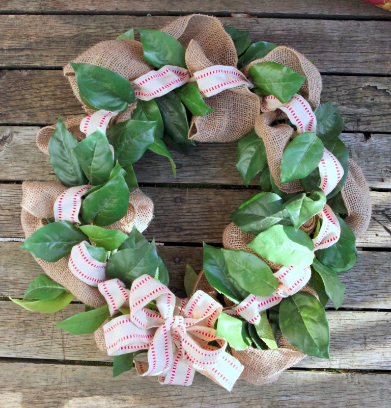 Completed wreath with burlap ribbon