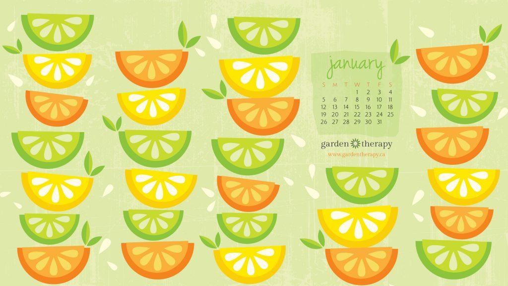 Garden Therapy Desktop Calendar January 2014 2560x1440