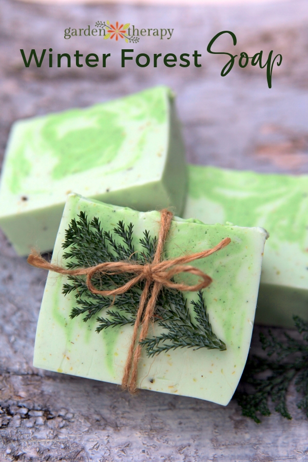 Green and white swirly soap with homemade burlap gift wrap