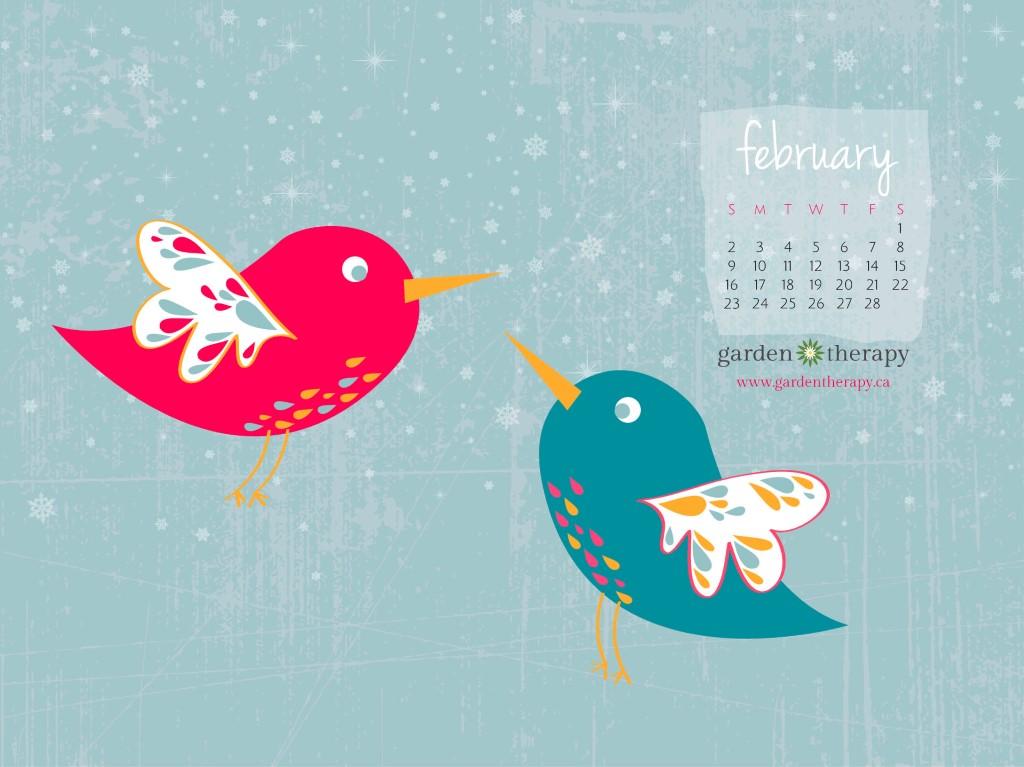 Garden Therapy Desktop Calendar February 2014 1024x768 Free Desktop Calendar