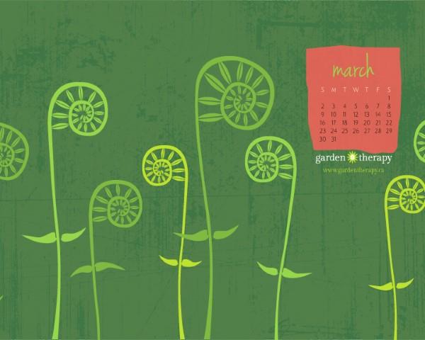 Garden Therapy Calendar March 2014 Free Printable Or Desktop Mobile Wallpaper