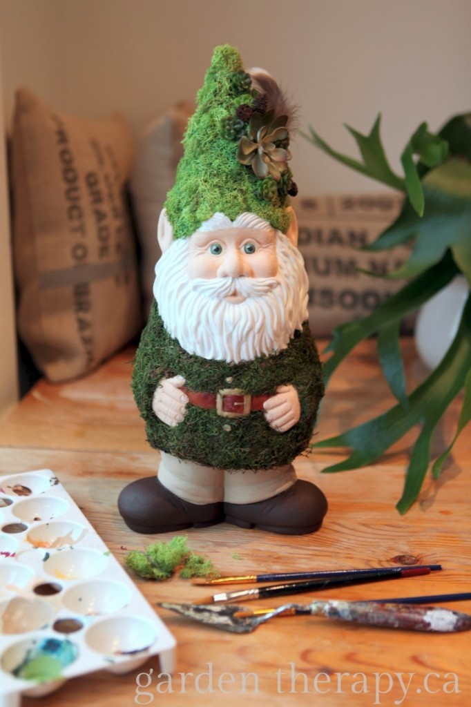 Woody the Woodland Gnome with Moss Coat and Lichen Hat