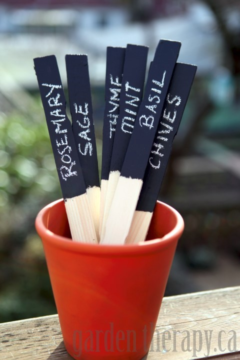 Chalk Board Painted Herb and Plant Labels Project