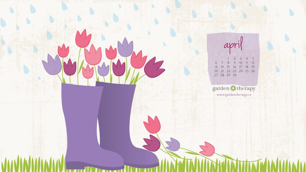 Garden Therapy Downloadable Desktop Calendar April Showers 2560x1440