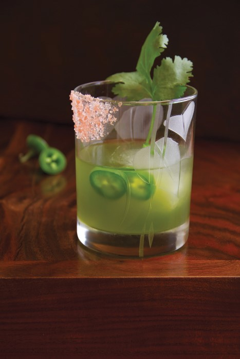 Savory and Spice Green Gargolye - a cucumber, jalapeno and tequila cocktail from the garden