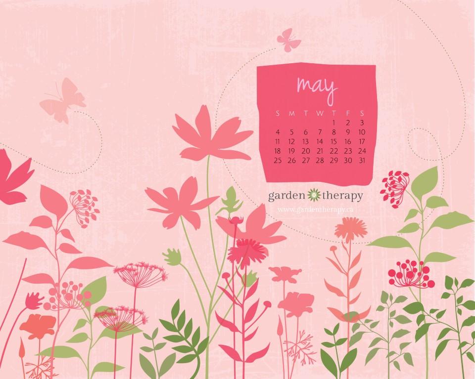 Garden Therapy May Printable Calendar 8x10