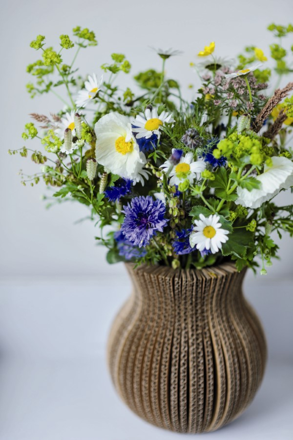 blue, white, and yellow arrangement