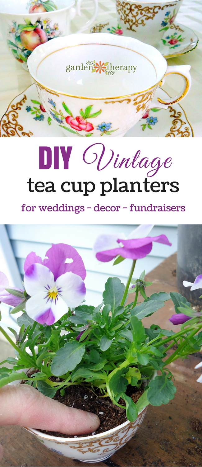 how to make a tea cup tire planter