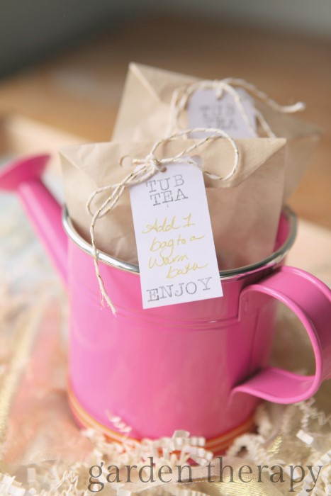 Simple Mother's Day Gift - Tub Teas filled with garden herbs and flowers in a watering can