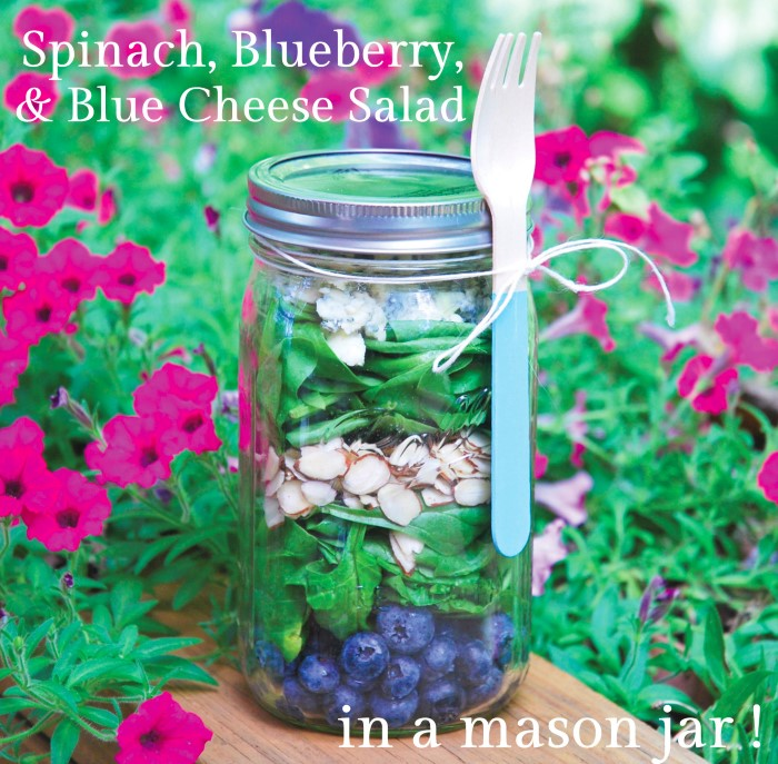 Spinach, Blueberry, and Blue Cheese Salad in a Mason Jar with Red Wine Vinaigrette