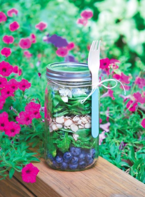 Spinach Blueberry And Blue Cheese Salad In A Mason Jar1