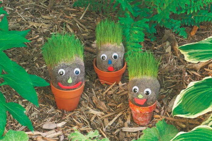 How to make these Grassy Garden Gnomes - a great project to do with kids