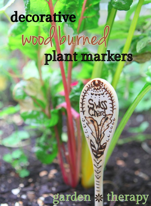 Decorative and Practical Wood Burned Plant Markers - pretty and they won't fade!