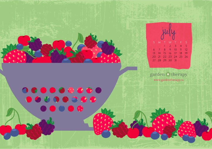July 2014 Free Printable Calendar from Garden Therapy