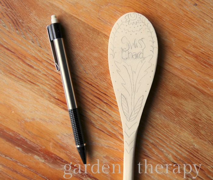 Wood Burned Spoon Plant Markers Step 1