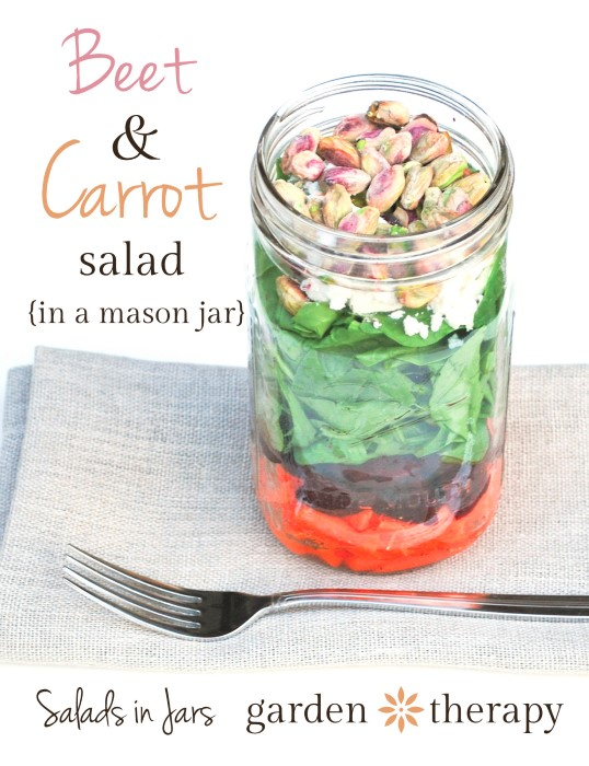 Beet and Carrot Salad in a Mason Jar Recipe from Salads in Jars and Garden Therapy