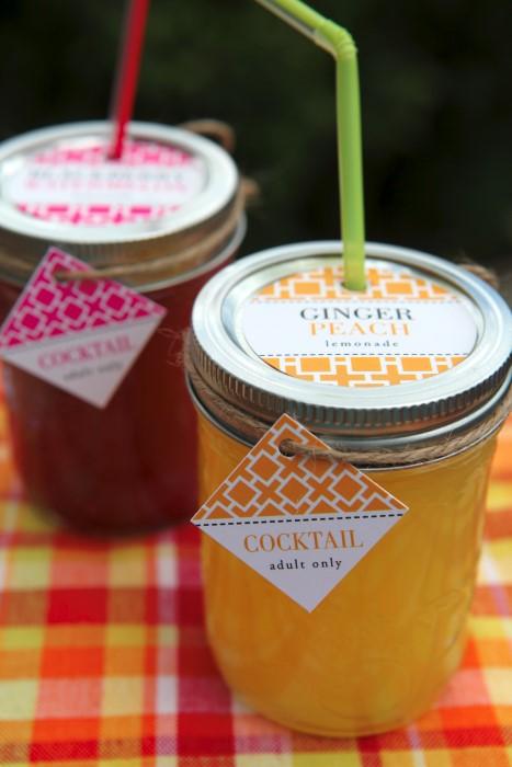 Ginger Peach Mason Jar Lemonade cocktail recipe
