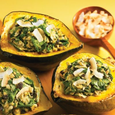 Acorn Squash with Coconut Chickpea Stuffing Recipe