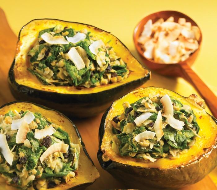 Acorn Squash with Coconut Chickpea Stuffing Recipe
