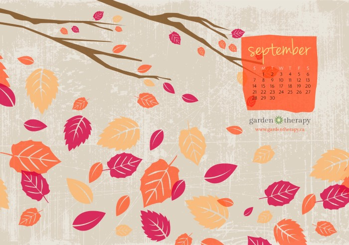 Falling for September - Free Desktop and Printable Calendar from Garden Therapy