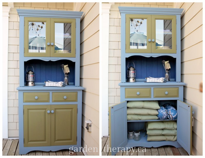 Gorgeous Deck Or Patio Storage   DIY BBQ Cabinet With Chalk Paint