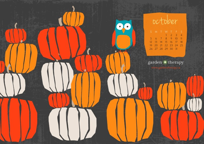 October Pumpkins Free Desktop And Printable Calendar From Garden Therapy