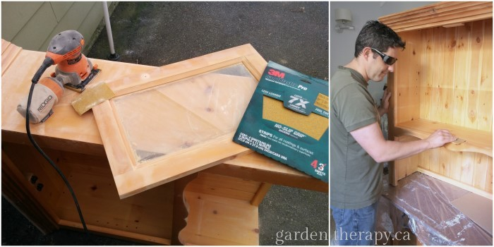Sanding the BBQ cabinet