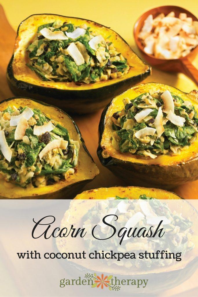 Roasted Acorn Squash Coconut Chickpea Stuffing